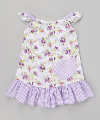 Lavender Daisy Angel-Sleeve Dress - Infant, Toddler & Girls
