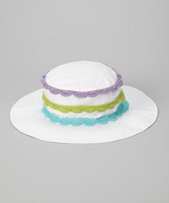 White & Lavender Stripe Crocheted Sunhat