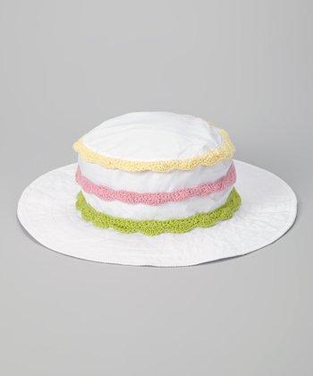 White & Yellow Stripe Crocheted Sunhat