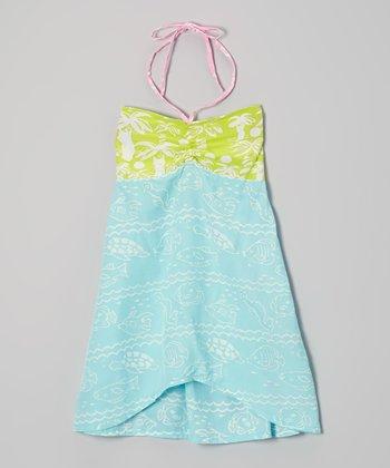 Green & Pool Hawaiian Convertible Dress - Infant, Toddler & Girls