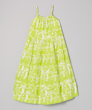 Green Apple Palm Tree Maxi Dress - Girls