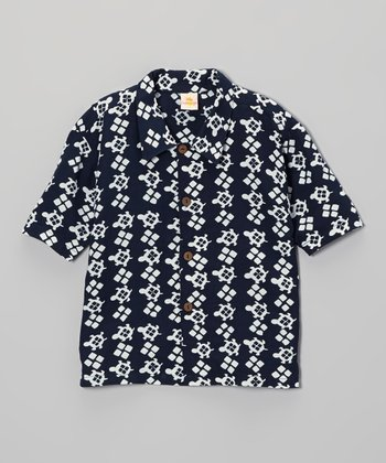 Navy Turtles Camp Button-Up - Toddler & Boys