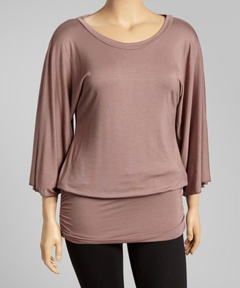 Mocha Ruched Scoop Neck Tunic - Plus