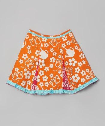 Orange Floral Flare Skirt - Toddler & Girls