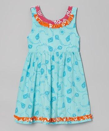 Teal Kite Ruffle Dress - Toddler & Girls