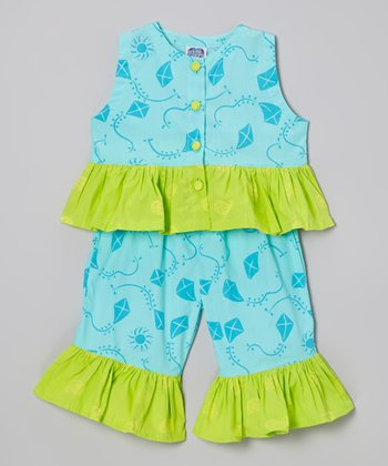 Teal Kite Sweet Ruffle Top & Pants - Toddler & Girls