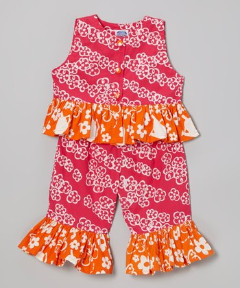Pink Floral Sweet Ruffle Top & Pants - Infant, Toddler & Girls