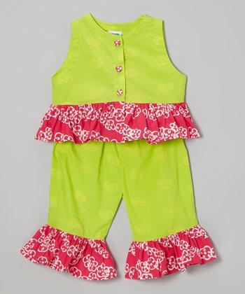 Green Floral Ruffle Top & Capri Pants - Infant, Toddler & Girls