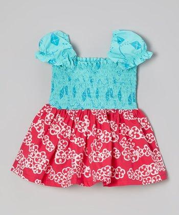Teal & Pink Shirred Tank - Toddler & Girls