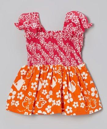 Hot Pink & Orange Shirred Tank - Toddler & Girls