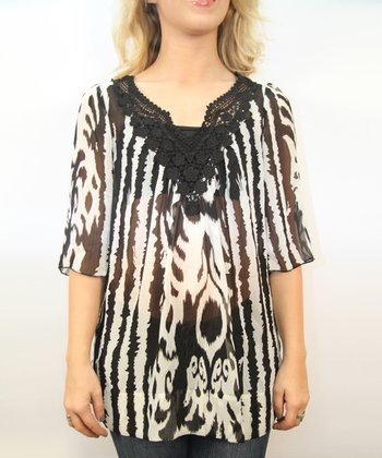 Black & White Sheer Classic Stripe Top - Women