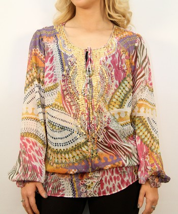 Pink Puzzle Peasant Top - Women