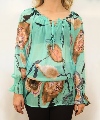 Aqua Sheer Floral Feather Peasant Top - Women