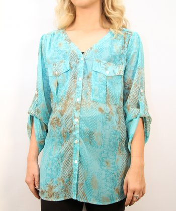 Turquoise Python V-Neck Button-Up - Women