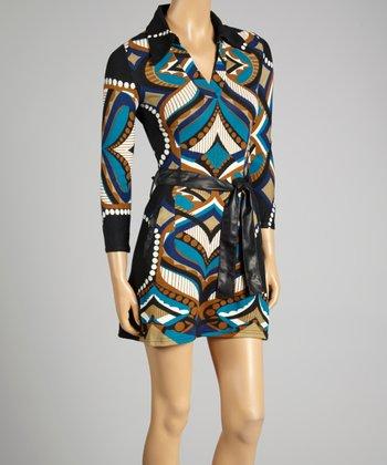 Coco & tashi Blue Abstract Three-Quarter Sleeve Dress
