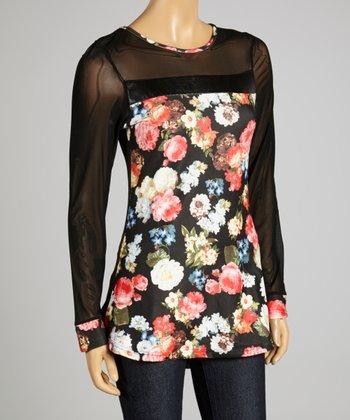 Coco & tashi Black & Gray Floral Tunic