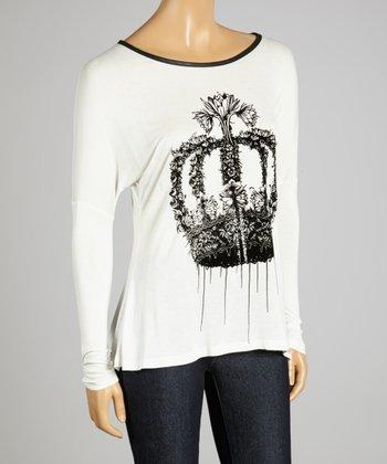 Coco & tashi Ivory & Black Crown Dolman Top