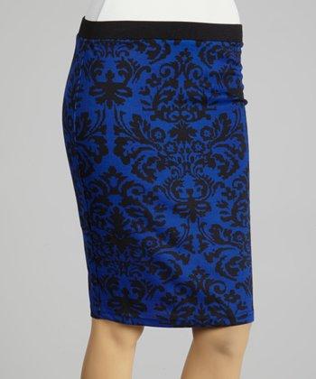 Coco & tashi Blue & Black Damask Pencil Skirt