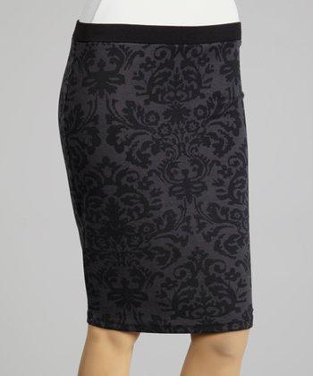 Coco & tashi Gray & Black Damask Pencil Skirt