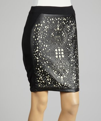 Coco & tashi Black Pointelle Pencil Skirt