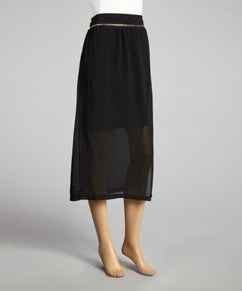 Coco & tashi Black Zipper Convertible Midi Skirt