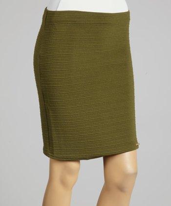 Coco & tashi Army Green Textured Skirt