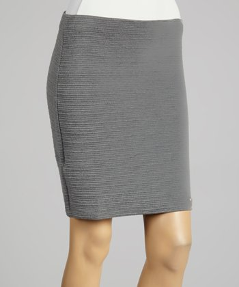 Coco & tashi Gray Textured Skirt