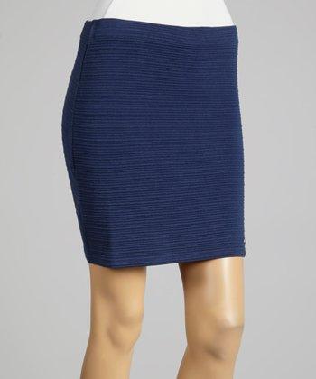 Coco & tashi Navy Textured Skirt