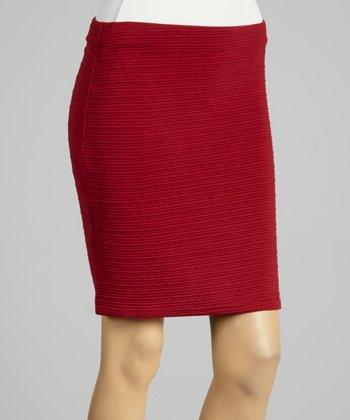 Coco & tashi Burgundy Textured Skirt