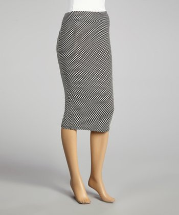 Coco & tashi Black & White Polka Dot Pencil Skirt