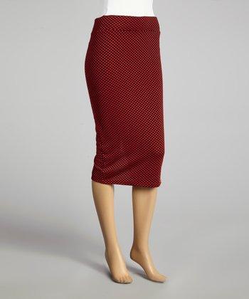 Coco & tashi Red & Black Polka Dot Pencil Skirt
