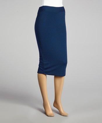 Coco & tashi Blue & Black Pencil Skirt
