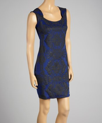 Coco & tashi Blue Damask Sleeveless Dress
