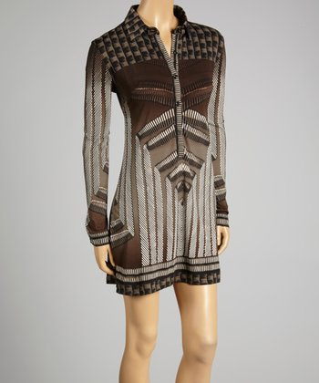 Coco & tashi Taupe Geometric Shirt Dress