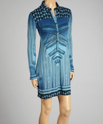 Coco & tashi Blue Geometric Shirt Dress