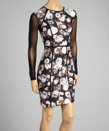 Coco & tashi Black & White Floral Sheath Dress