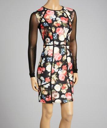 Coco & tashi Black & Gray Floral Sheath Dress