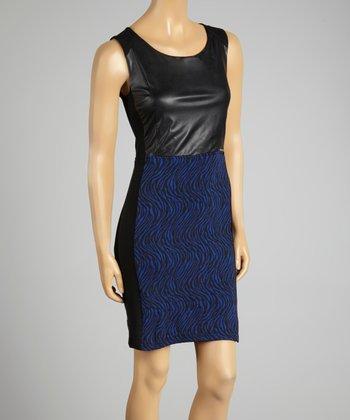 Coco & tashi Blue & Black Zebra Sheath Dress