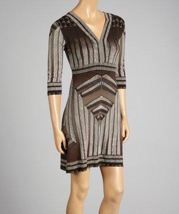 Coco & tashi Khaki Abstract V-Neck Dress