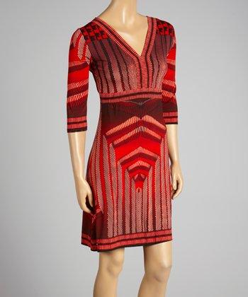 Coco & tashi Burgundy Abstract V-Neck Dress