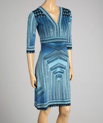 Coco & tashi Navy Abstract V-Neck Dress