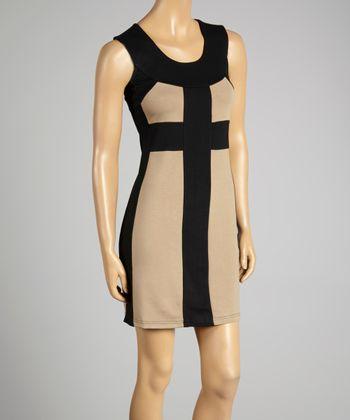 Coco & tashi Black & Stone Color Block Sheath Dress