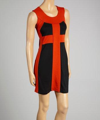 Coco & tashi Brick & Black Color Block Sheath Dress