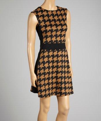 Coco & tashi Taupe Houndstooth Dress