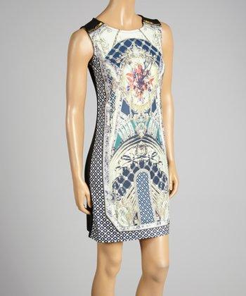 Coco & tashi Blue & Black Labyrinth Sleeveless Dress