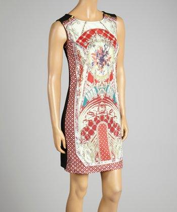 Coco & tashi Red & Black Labyrinth Sleeveless Dress