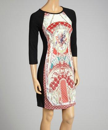 Coco & tashi Red & Black Labyrinth Dress
