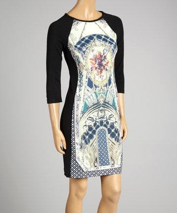 Coco & tashi Blue & Black Labyrinth Dress