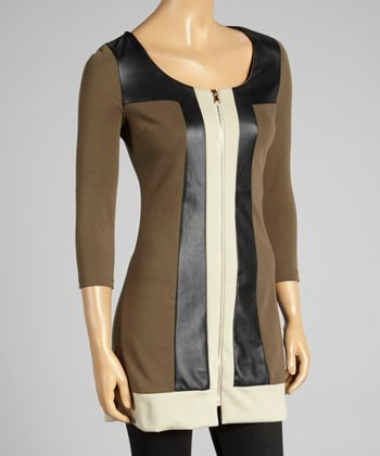 Coco & tashi Khaki Color Block Zip-Up Tunic
