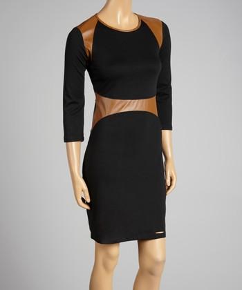 Coco & tashi Black & Tan Color Block Dress